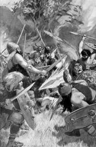 illustration of Lugh's magic spear by H.R. Millar