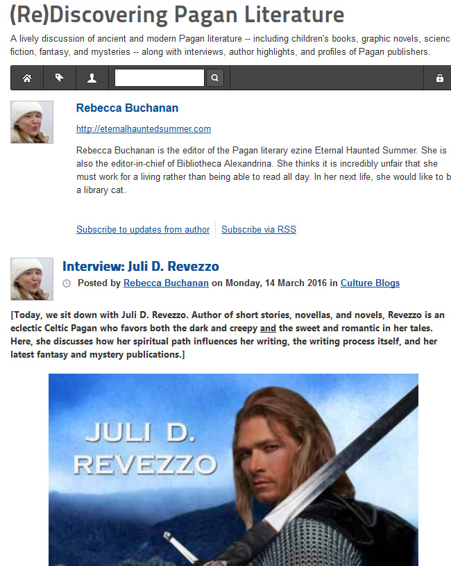 My interview at BookMusings; Druid Warrior's Heart; Juli D. Revezzo