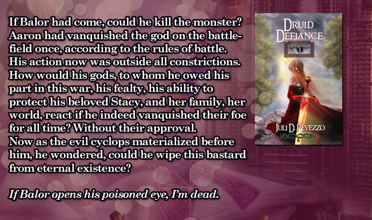 Druid Defiance sample by Juli D. Revezzo, fantasy romance, Kindle Unlimited.
