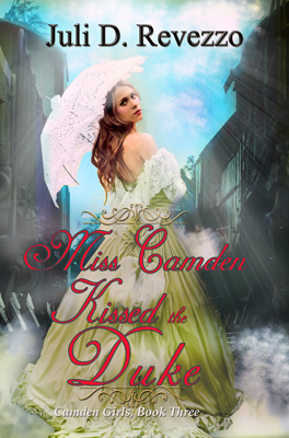Miss Camden Kissed the Duke by Juli D. Revezzo, enemies to lovers, Victorian romance, historical romance, snowed-in romance, Victorian trains, Amazon